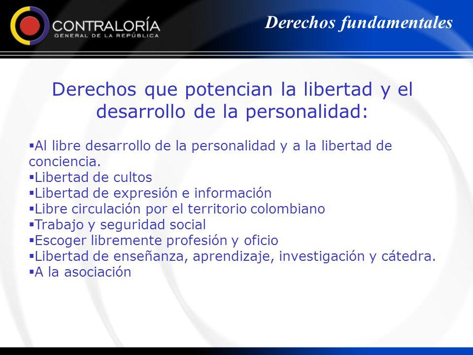 Derechos que potencian la libertad y el desarrollo de la personalidad: