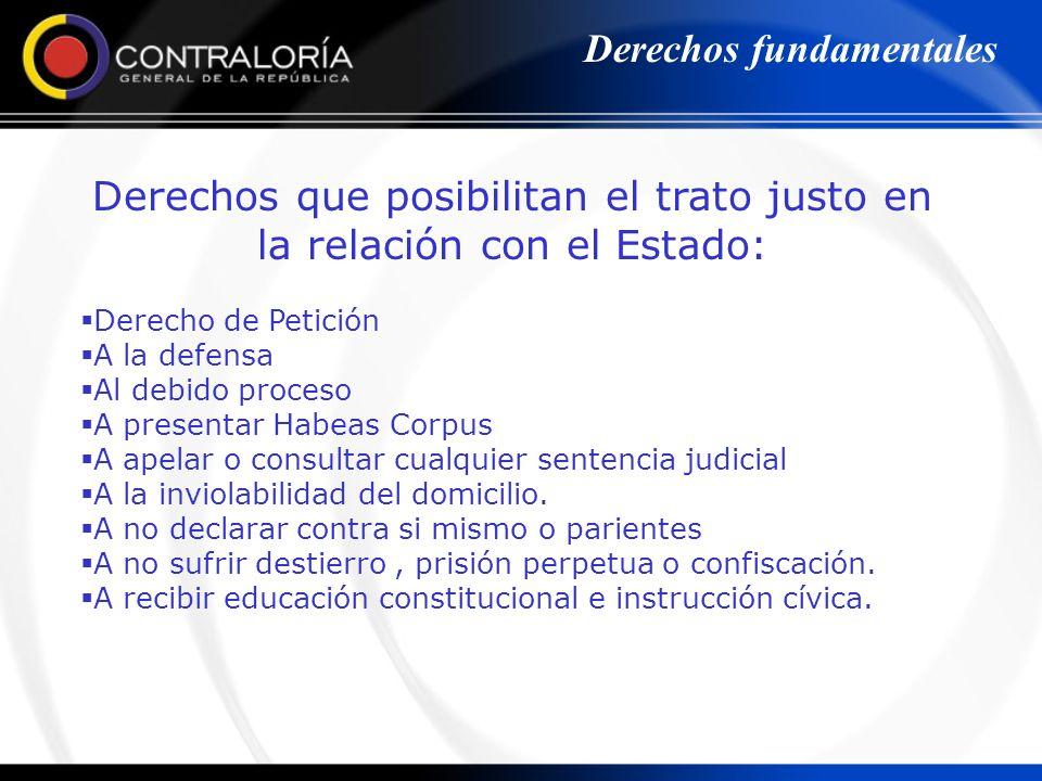 Derechos que posibilitan el trato justo en la relación con el Estado: