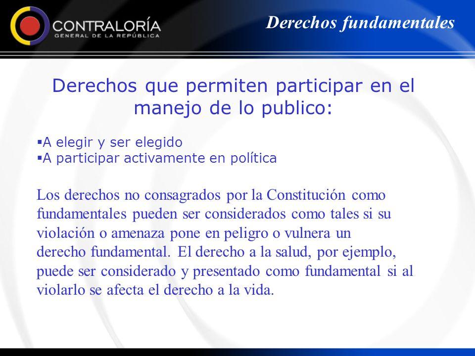 Derechos que permiten participar en el manejo de lo publico: