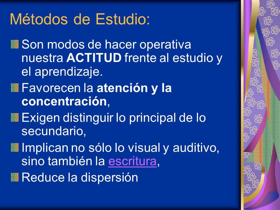 Métodos de Estudio:Son modos de hacer operativa nuestra ACTITUD frente al estudio y el aprendizaje.