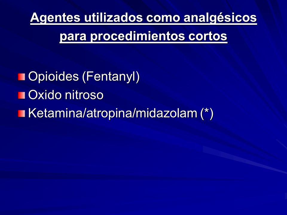 Agentes utilizados como analgésicos para procedimientos cortos