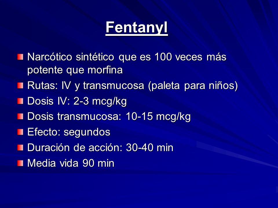 Fentanyl Narcótico sintético que es 100 veces más potente que morfina