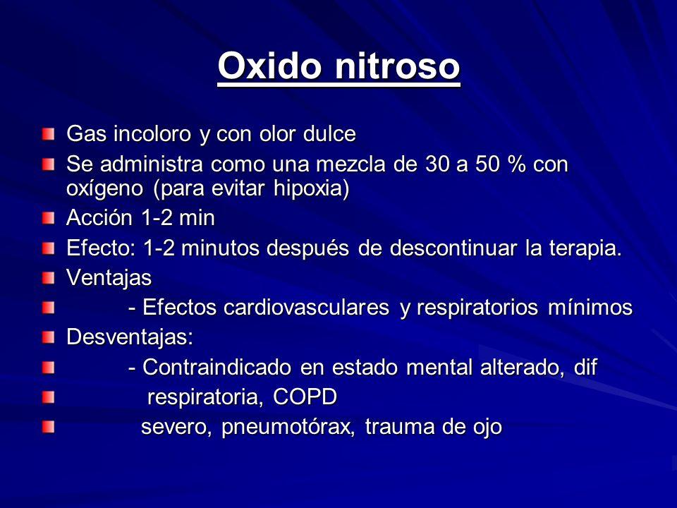 Oxido nitroso Gas incoloro y con olor dulce