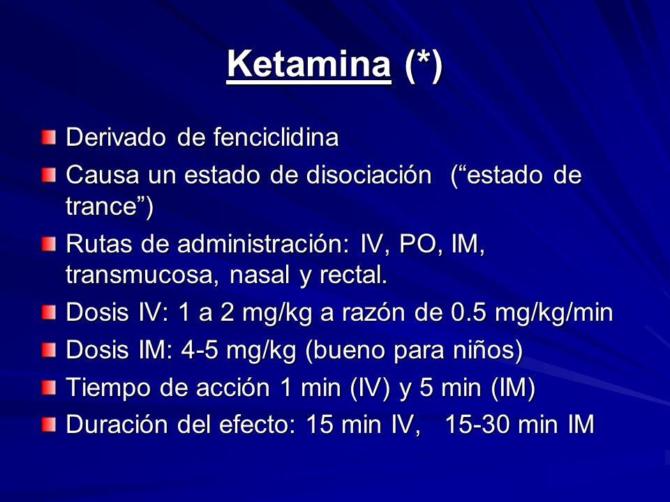 Ketamina (*) Derivado de fenciclidina
