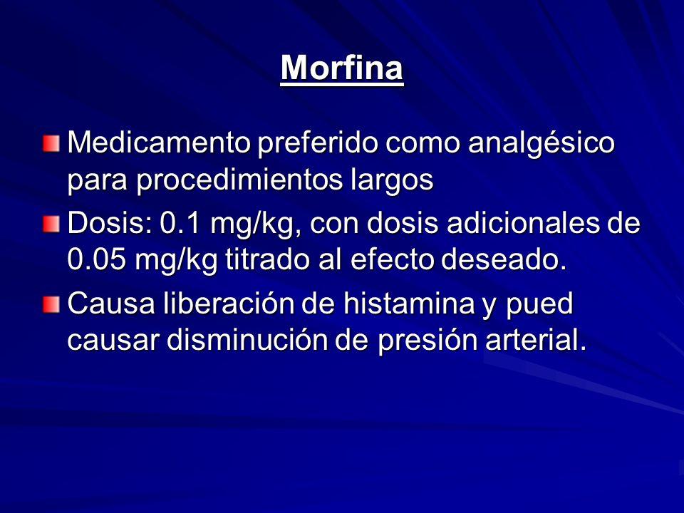 MorfinaMedicamento preferido como analgésico para procedimientos largos.