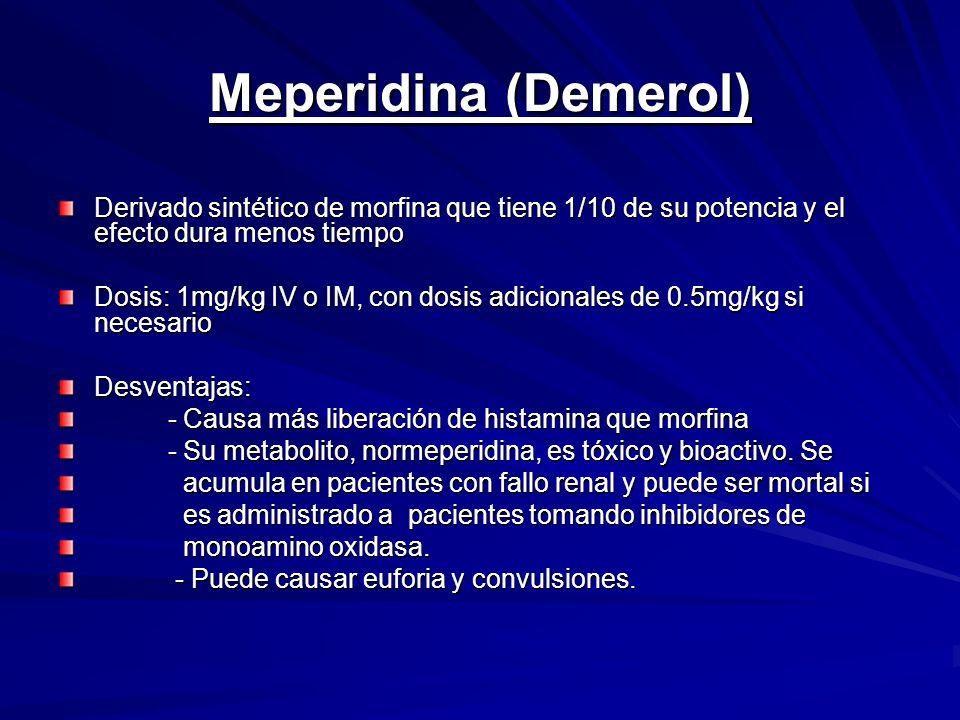 Meperidina (Demerol) Derivado sintético de morfina que tiene 1/10 de su potencia y el efecto dura menos tiempo.