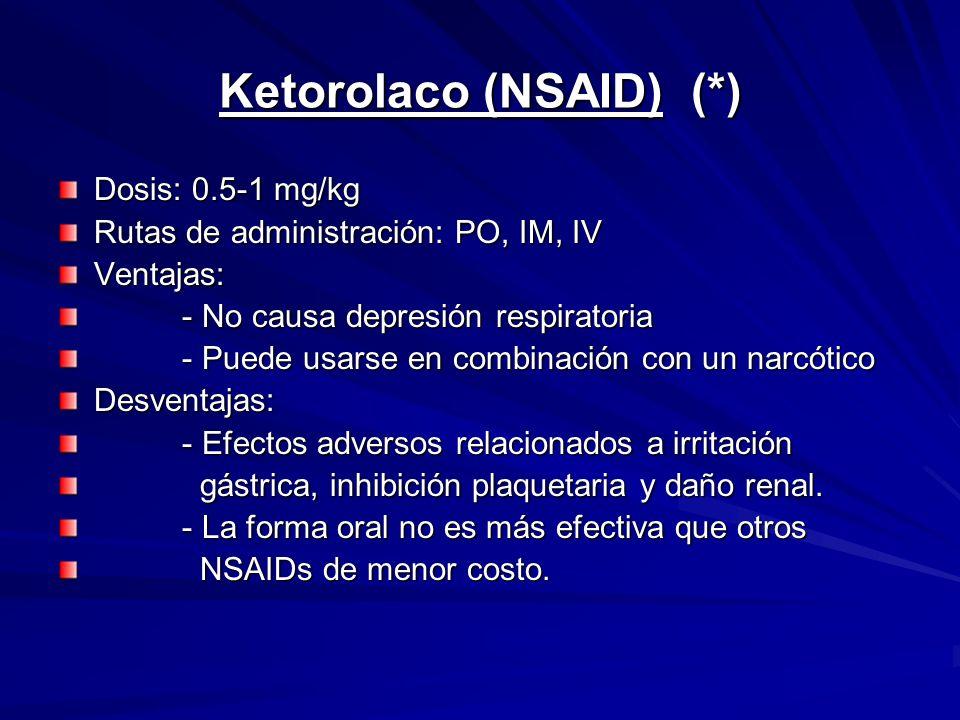 Ketorolaco (NSAID) (*)