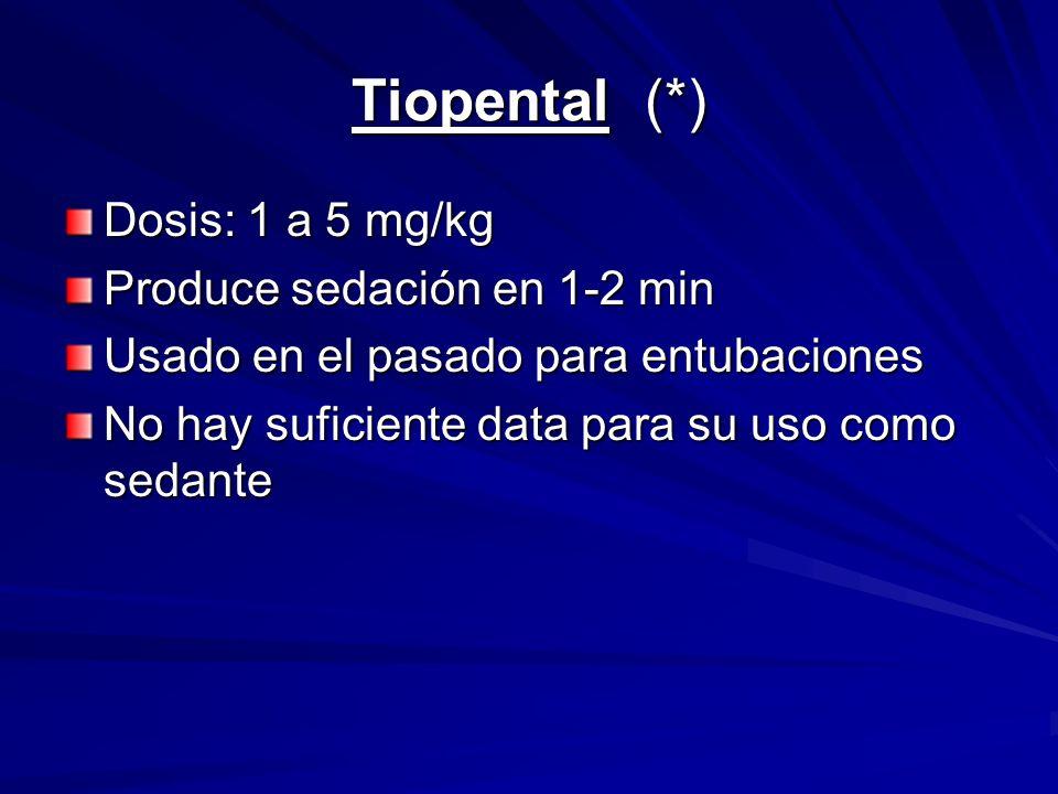 Tiopental (*) Dosis: 1 a 5 mg/kg Produce sedación en 1-2 min
