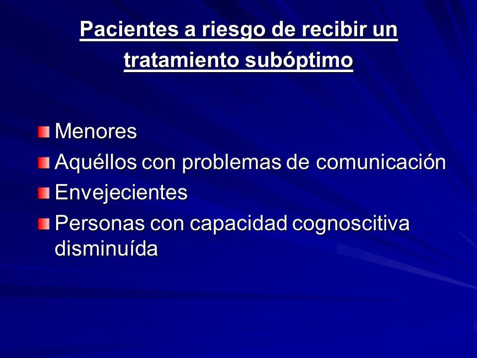 Pacientes a riesgo de recibir un tratamiento subóptimo