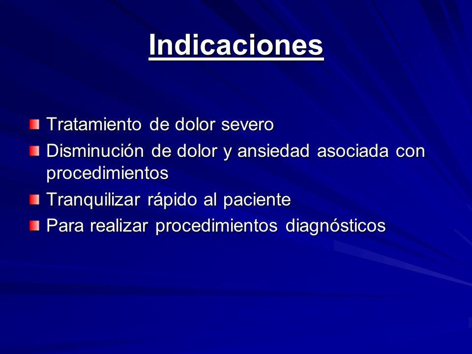 Indicaciones Tratamiento de dolor severo