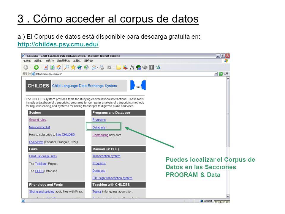 3 . Cómo acceder al corpus de datos