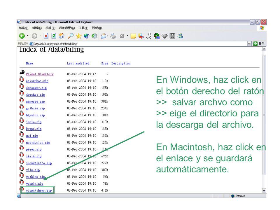 En Windows, haz click en el botón derecho del ratón >> salvar archvo como