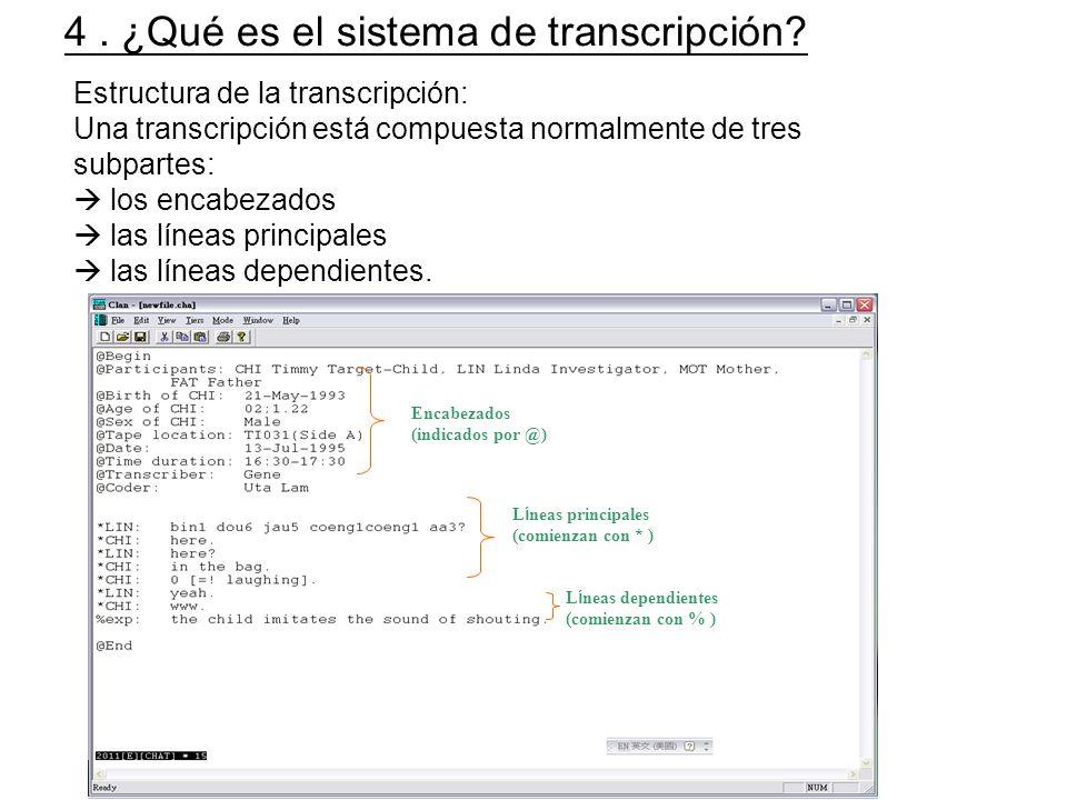 4 . ¿Qué es el sistema de transcripción