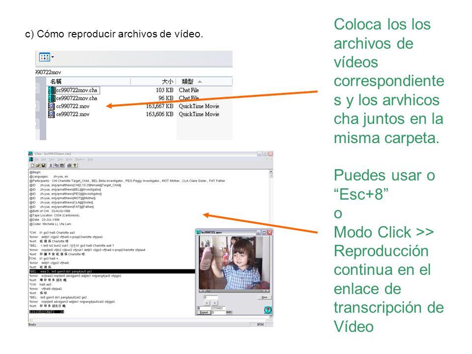 Coloca los los archivos de vídeos correspondientes y los arvhicos cha juntos en la misma carpeta.