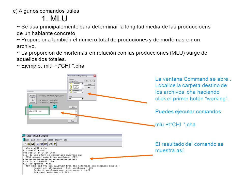 1. MLU c) Algunos comandos útiles