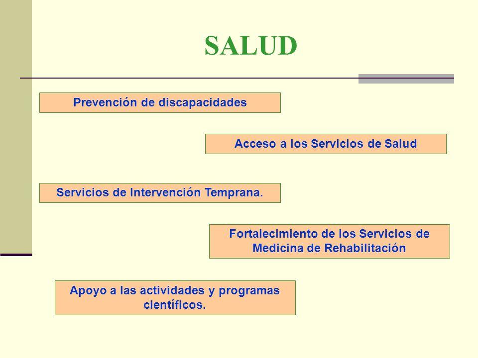 SALUD Prevención de discapacidades Acceso a los Servicios de Salud