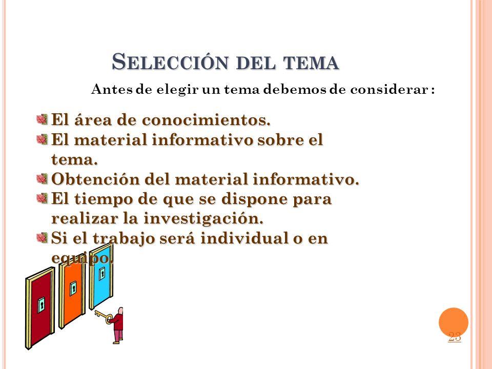 Selección del tema El área de conocimientos.