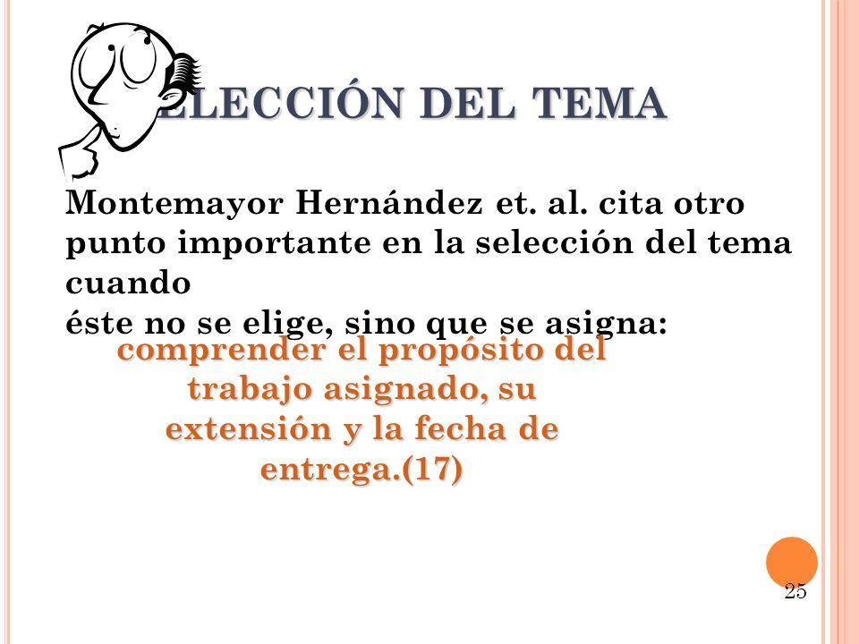 Selección del tema Montemayor Hernández et. al. cita otro punto importante en la selección del tema cuando.