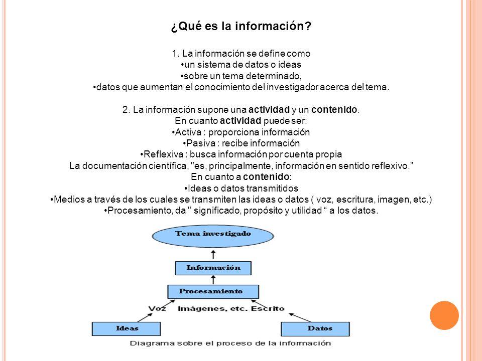 ¿Qué es la información 1. La información se define como