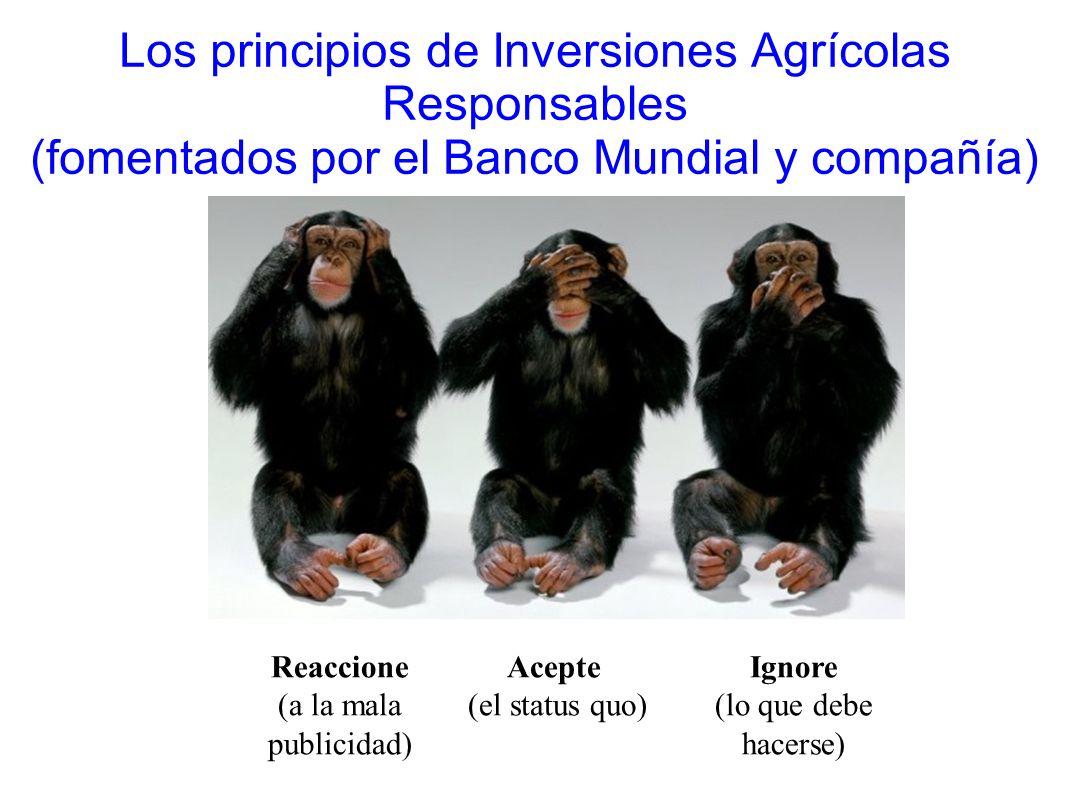 Los principios de Inversiones Agrícolas Responsables (fomentados por el Banco Mundial y compañía)