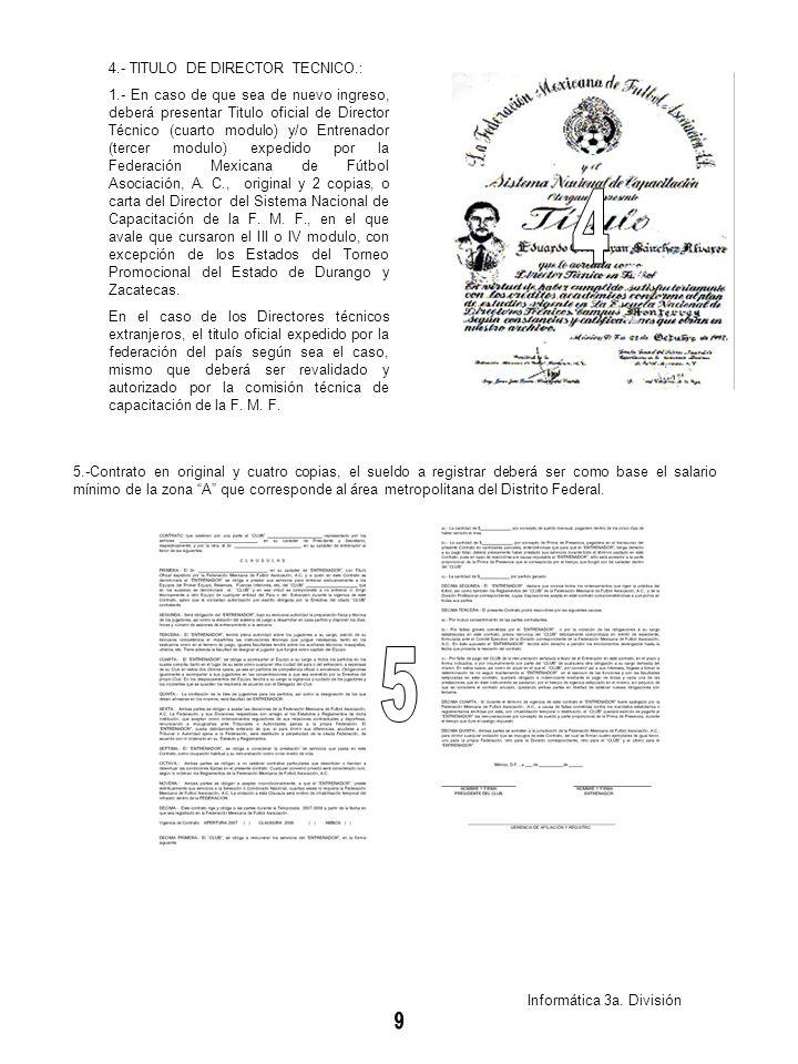 4 5 4.- TITULO DE DIRECTOR TECNICO.:
