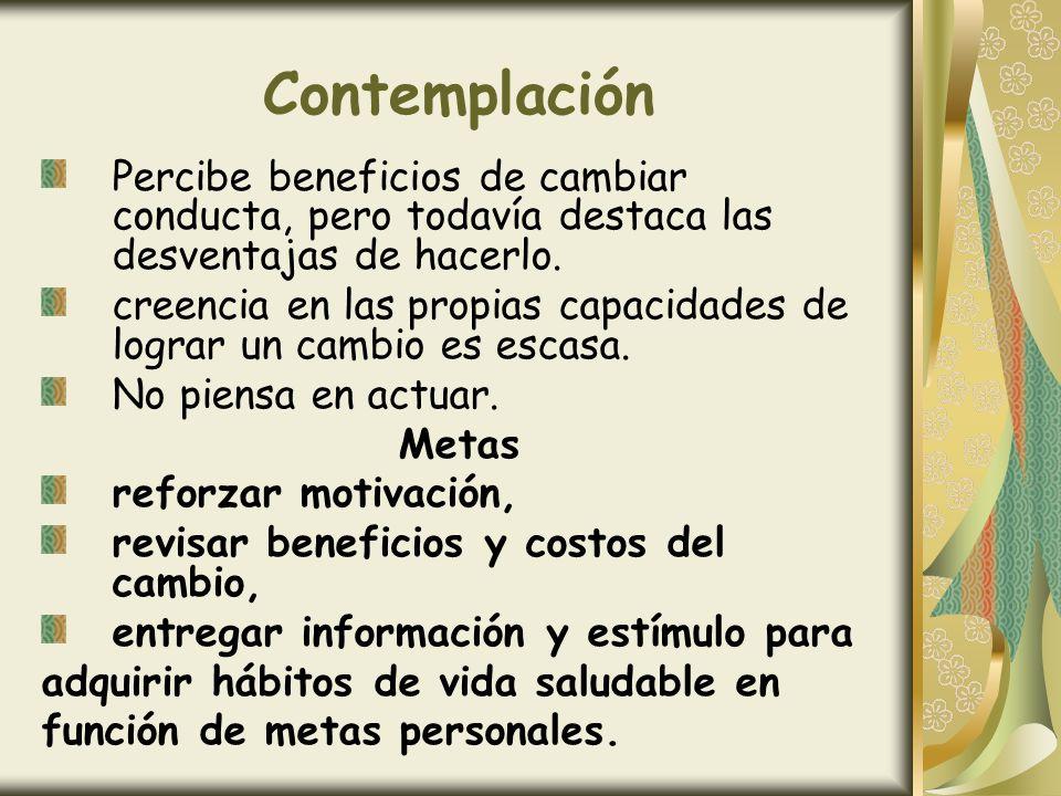 ContemplaciónPercibe beneficios de cambiar conducta, pero todavía destaca las desventajas de hacerlo.