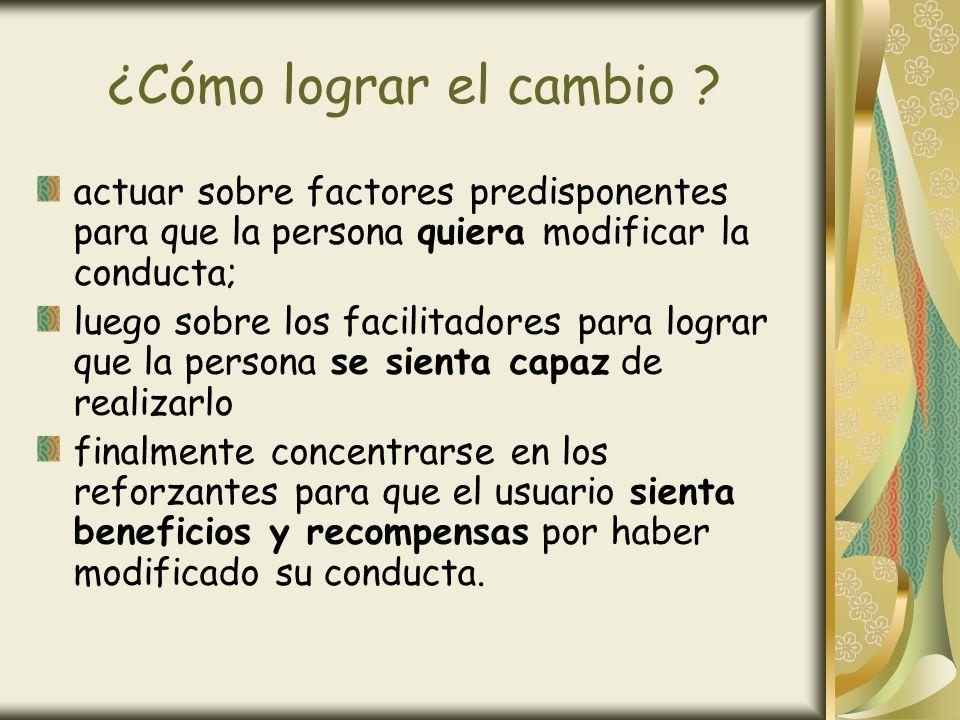 ¿Cómo lograr el cambio actuar sobre factores predisponentes para que la persona quiera modificar la conducta;