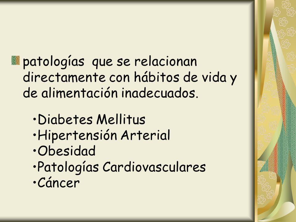 patologías que se relacionan directamente con hábitos de vida y de alimentación inadecuados.
