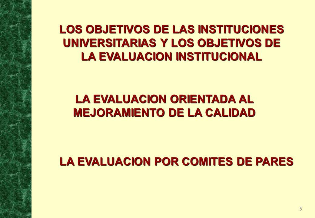 LOS OBJETIVOS DE LAS INSTITUCIONES UNIVERSITARIAS Y LOS OBJETIVOS DE