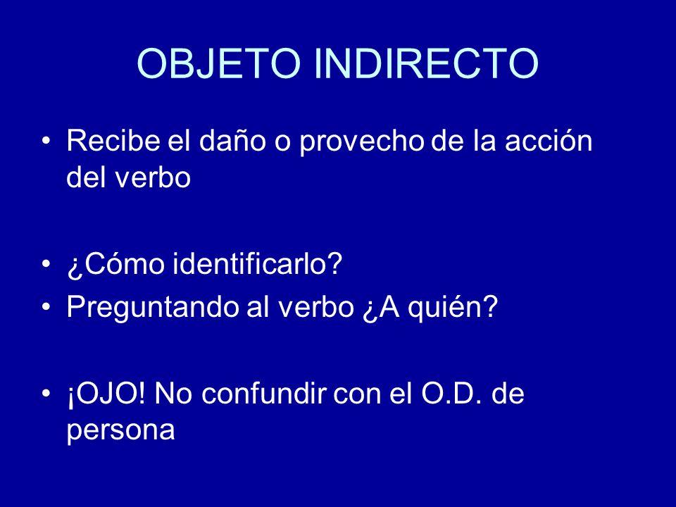 OBJETO INDIRECTO Recibe el daño o provecho de la acción del verbo