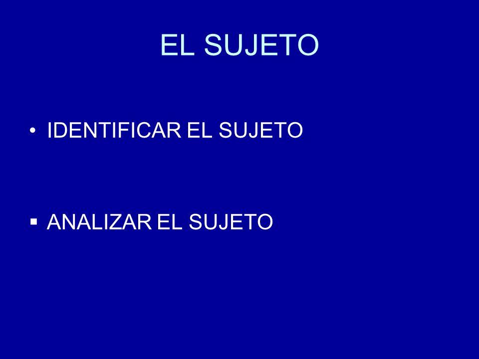 EL SUJETO IDENTIFICAR EL SUJETO ANALIZAR EL SUJETO