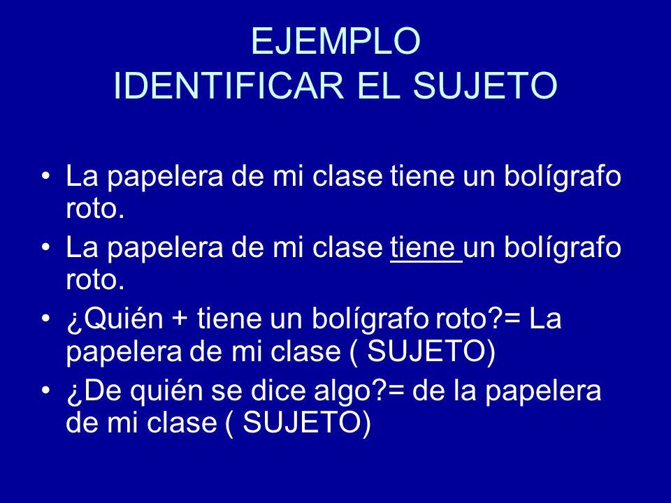 EJEMPLO IDENTIFICAR EL SUJETO