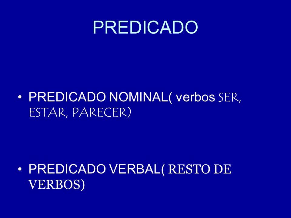 PREDICADO PREDICADO NOMINAL( verbos SER, ESTAR, PARECER)