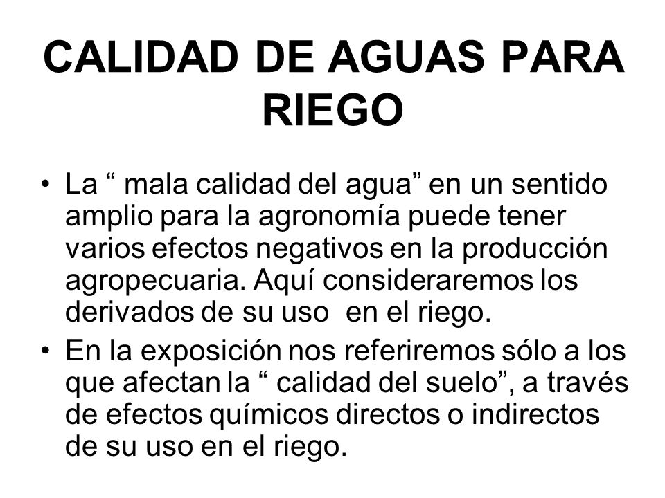 CALIDAD DE AGUAS PARA RIEGO