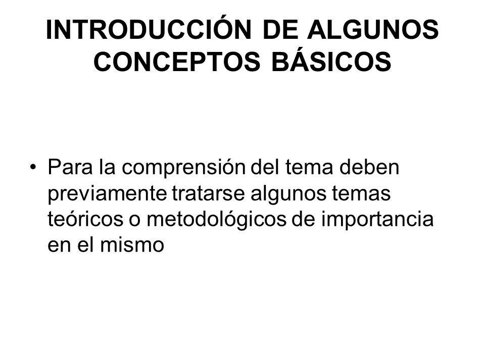 INTRODUCCIÓN DE ALGUNOS CONCEPTOS BÁSICOS