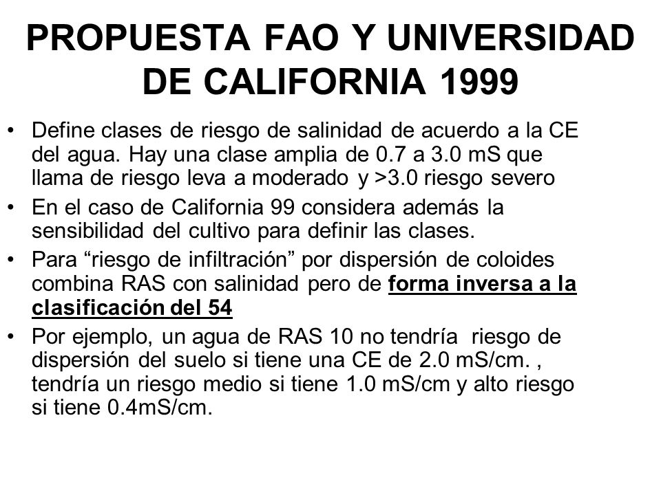 PROPUESTA FAO Y UNIVERSIDAD DE CALIFORNIA 1999