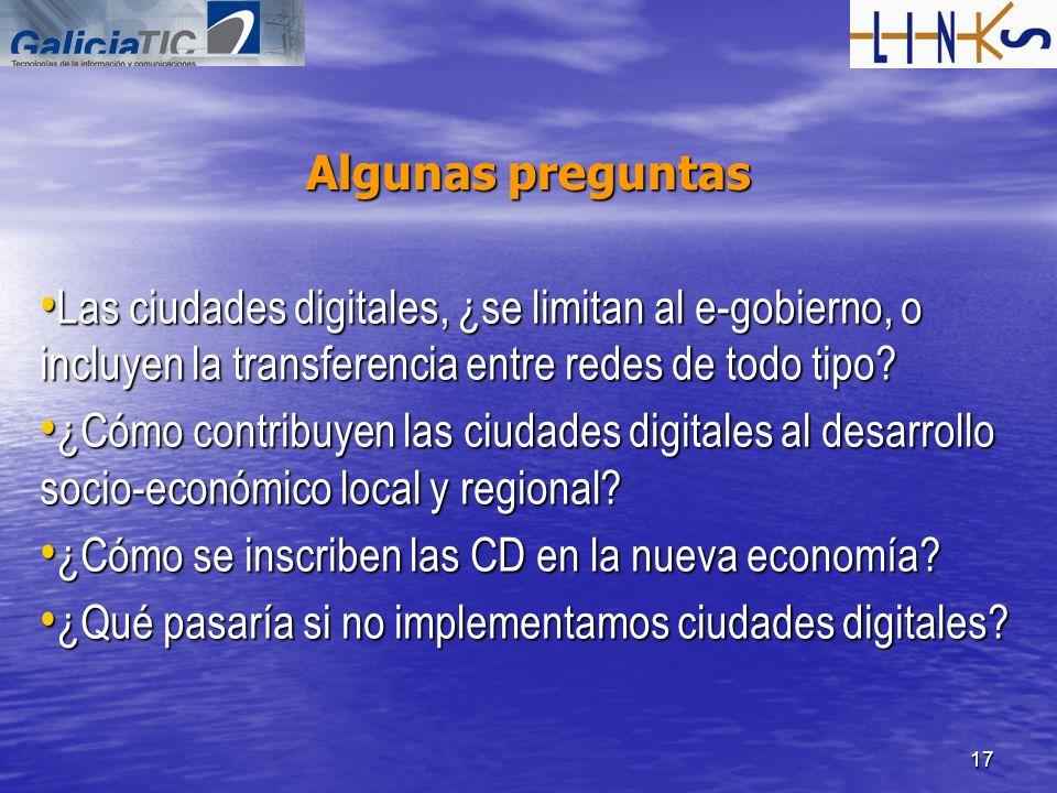 Algunas preguntas Las ciudades digitales, ¿se limitan al e-gobierno, o incluyen la transferencia entre redes de todo tipo