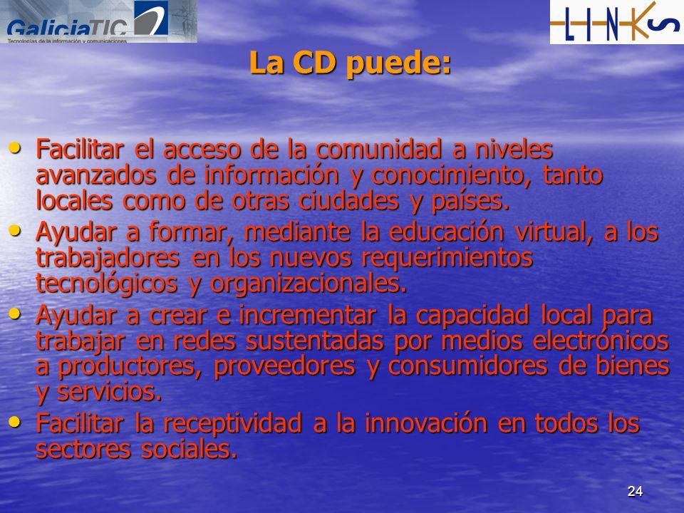 La CD puede:Facilitar el acceso de la comunidad a niveles avanzados de información y conocimiento, tanto locales como de otras ciudades y países.