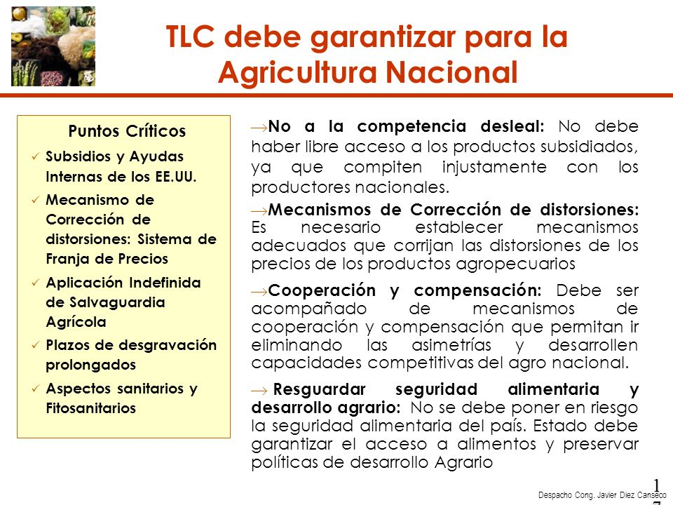 TLC debe garantizar para la Agricultura Nacional
