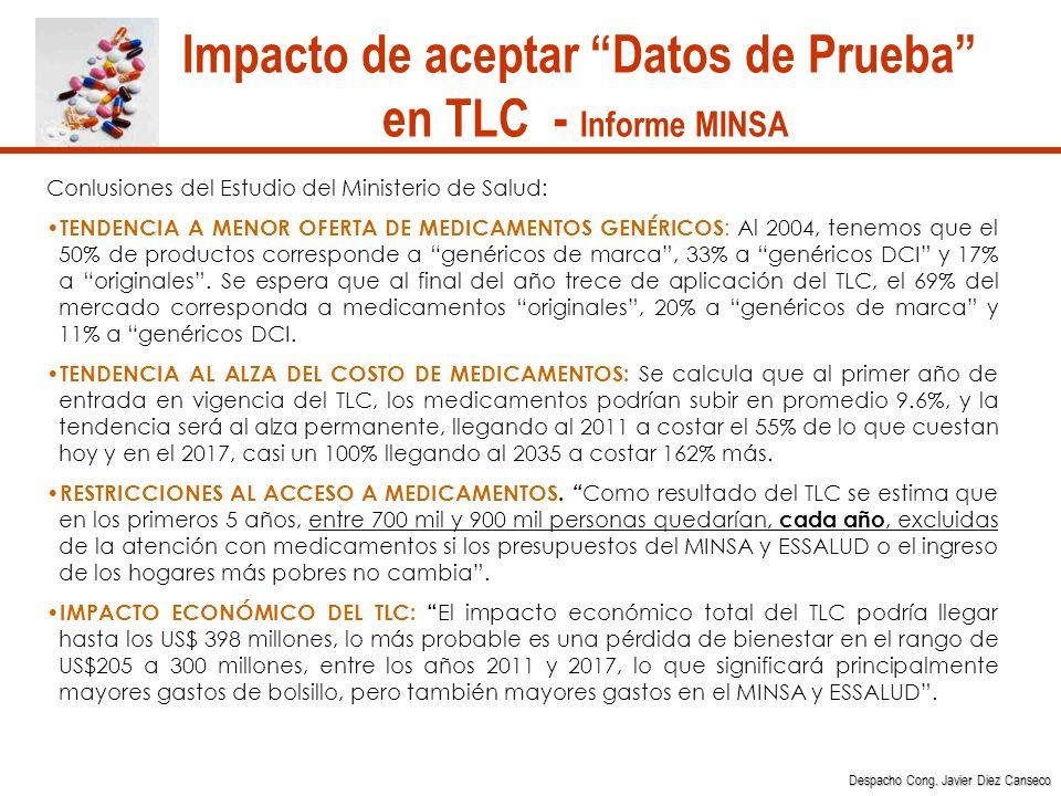 Impacto de aceptar Datos de Prueba en TLC - Informe MINSA