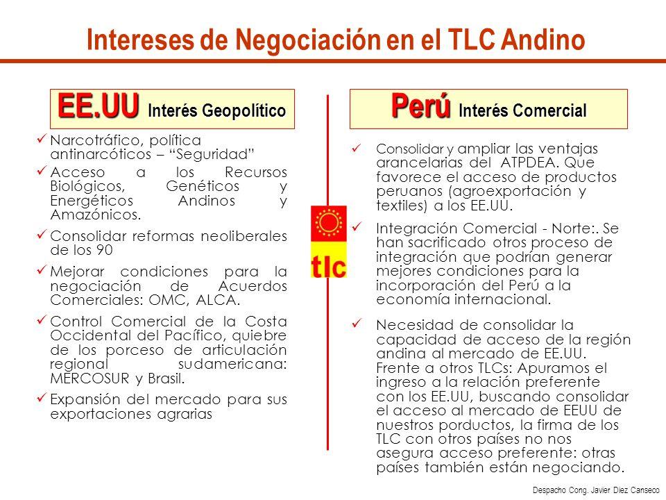 Intereses de Negociación en el TLC Andino Perú Interés Comercial