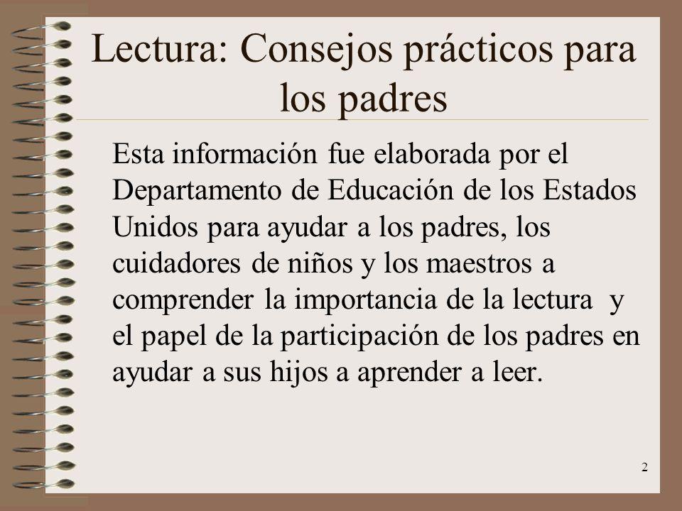 Lectura: Consejos prácticos para los padres
