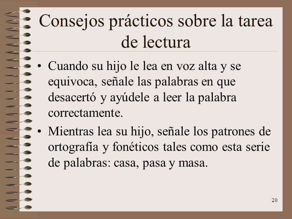 Consejos prácticos sobre la tarea de lectura