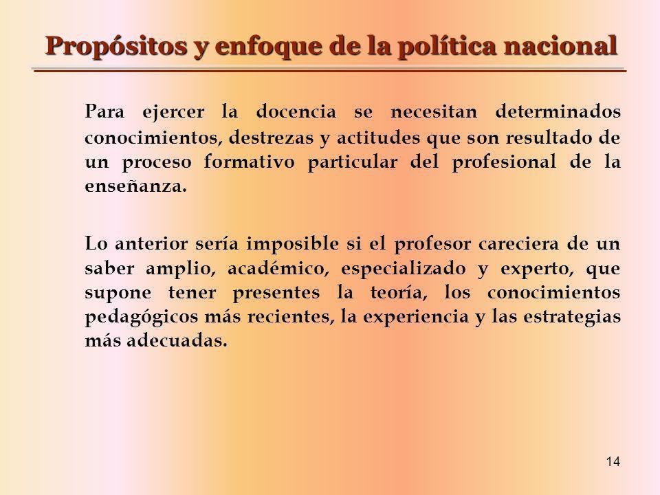 Propósitos y enfoque de la política nacional