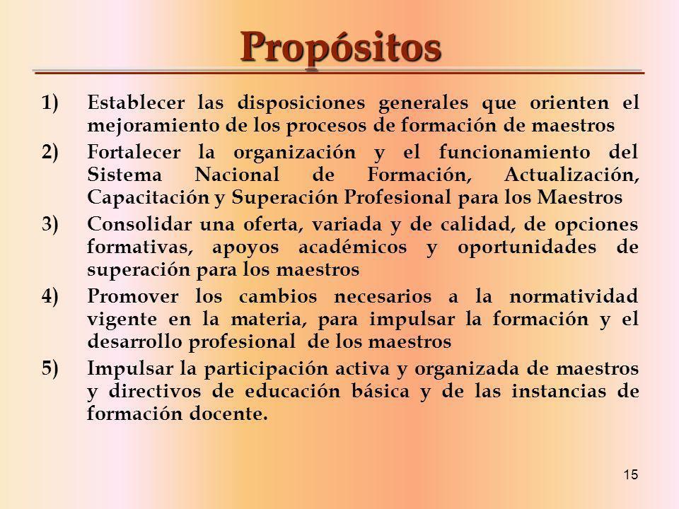 Propósitos Establecer las disposiciones generales que orienten el mejoramiento de los procesos de formación de maestros.