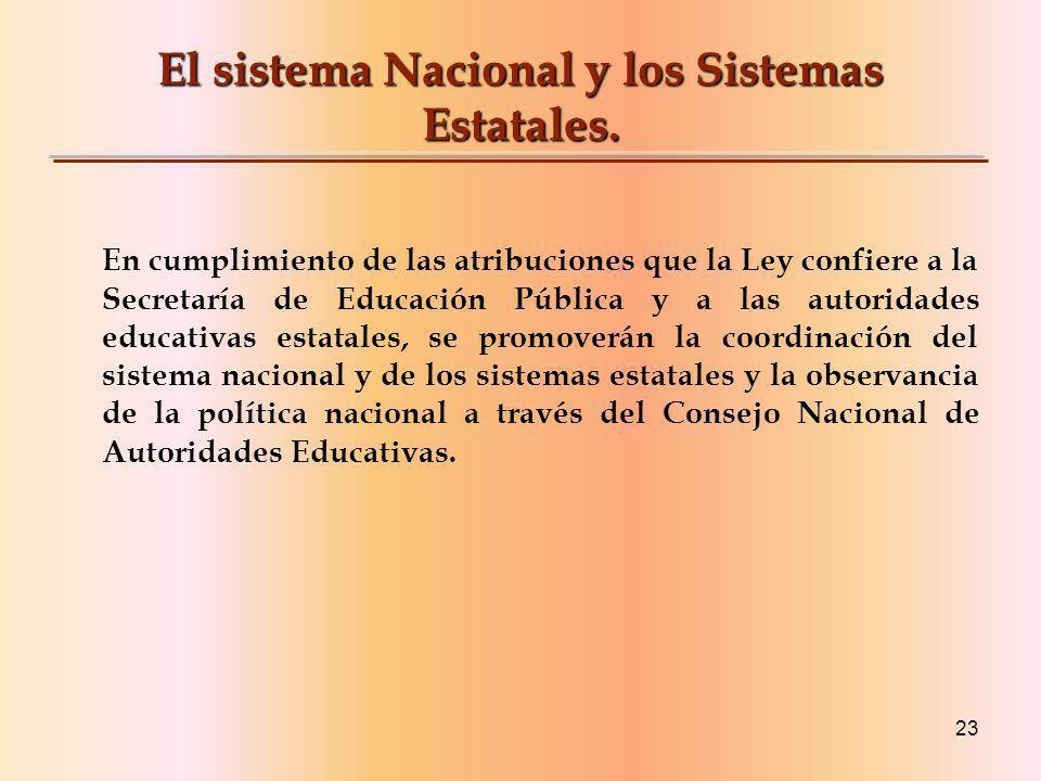El sistema Nacional y los Sistemas Estatales.