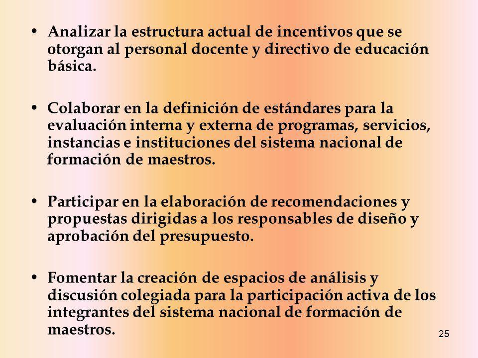 Analizar la estructura actual de incentivos que se otorgan al personal docente y directivo de educación básica.