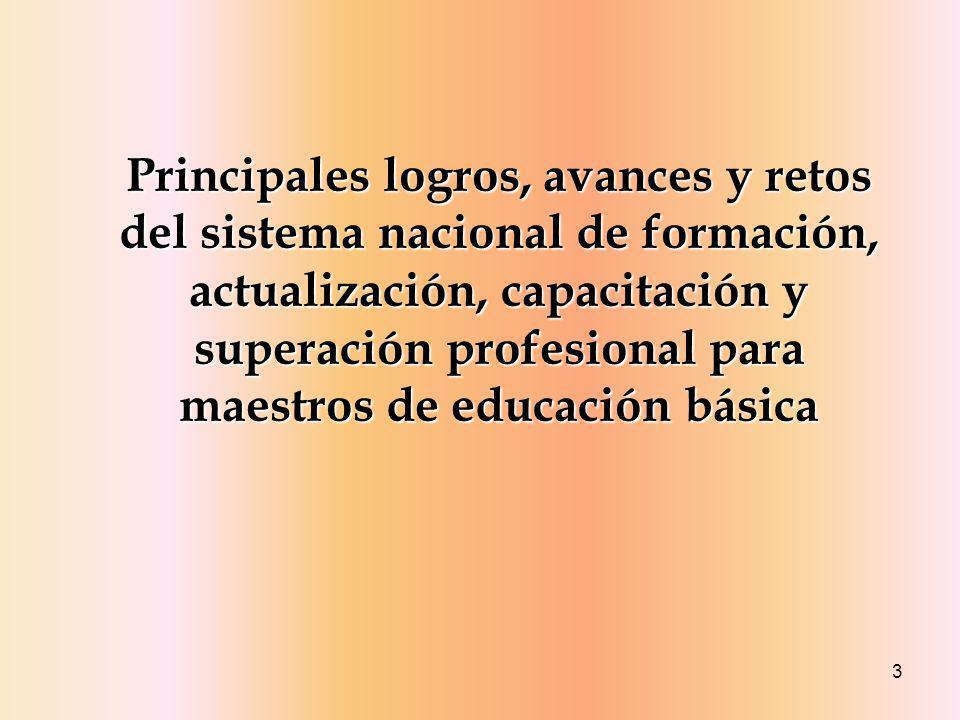 Principales logros, avances y retos del sistema nacional de formación, actualización, capacitación y superación profesional para maestros de educación básica