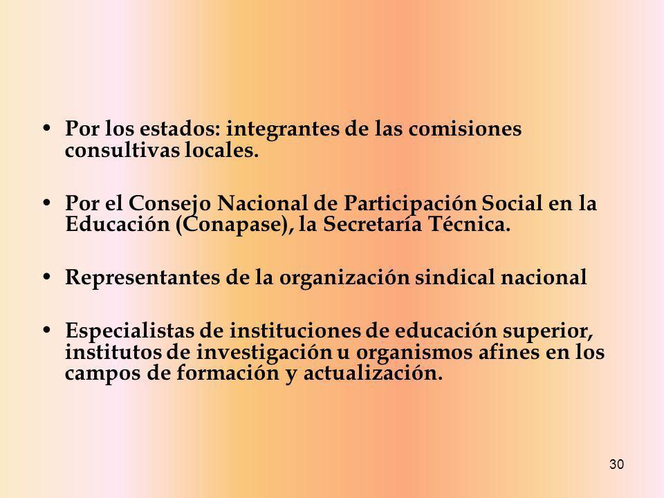 Por los estados: integrantes de las comisiones consultivas locales.