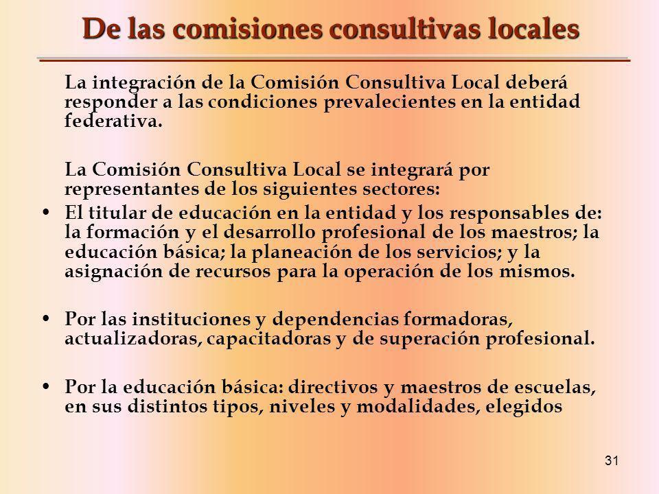 De las comisiones consultivas locales